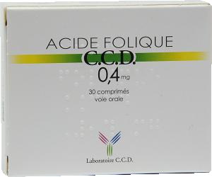 Acide folique ccd 0,4 mg, comprimé